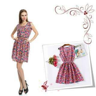 Magenta Floral Batik Summer Dress