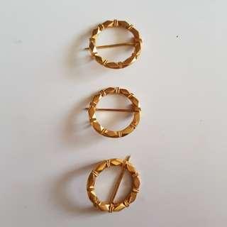 3 pcs silver gold gilt Keronsang