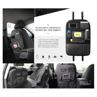 權世界@汽車用品 韓國Autoban 高質感皮革後座置物袋 收納袋 飲料雜誌袋 面紙盒套 黑色 AW-95