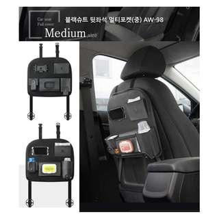 權世界@汽車用品 韓國Autoban 高質感皮革後座置物袋 收納袋 飲料袋 面紙盒套 黑色 AW-98