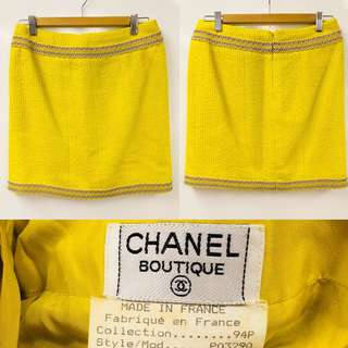 Chanel boutique yellow green with rubber skirt