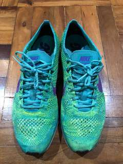 8.5 Green/Purple Nike Flyknit Racers