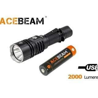 AceBeam L16 USB 充電 CREE XHP35 HI LED 2000 流明 LED Flashlight 電筒 (跟原廠充電池) - 原裝行貨