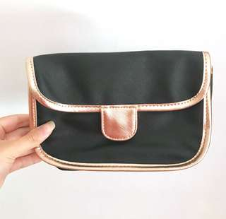 Black and rose gold pouch