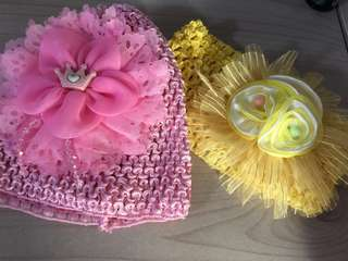 BN baby floral beanie and hairband