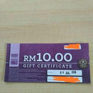 RM10 Coffeebean voucher