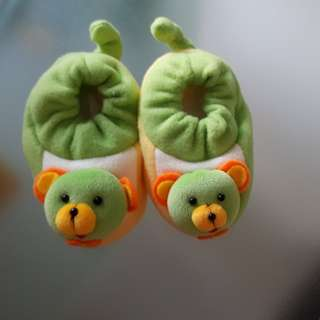 Cute Green Baby Shoes with Teddy Bear Doll