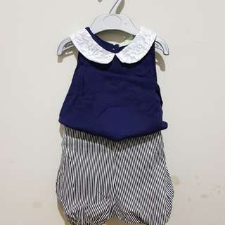 Lace top striped short set New with tag