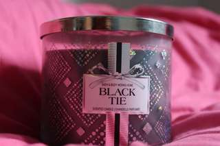 3 wick candle black tie bath & body works scented candle bbw