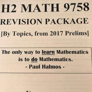 H2 JC1/2 Math A levels revision package