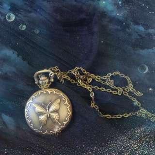 🦋復古古銅蝴蝶夫人懷錶鏈錶項鍊掛錶