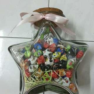 Star bottle with homemade stars
