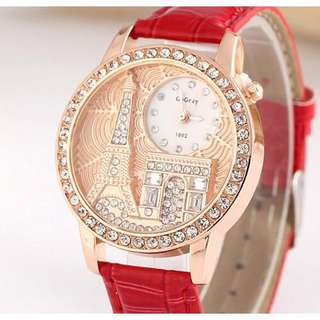Postage Free Promotion: 5-15 Days Shipping Time for Eiffel Tower Embossed Ladies Watch