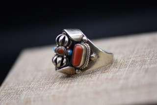 珊瑚純銀戒指,金剛杵法器可旋轉