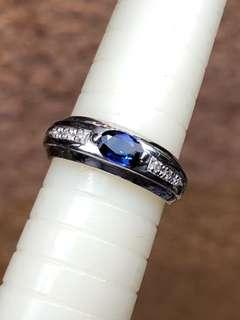 Pt900 sapphire diamond ring