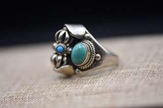 純銀綠松石戒指,金剛杵法器可旋轉