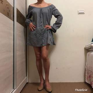 🚚 香港製 露肩上衣 連衣裙 薄外套 質感很好 親膚 舒適 適合夏天穿 f碼 長70公分ㄡ