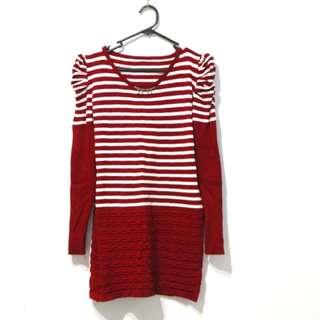 🚚 紅白條紋長版上衣