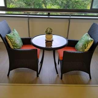 Outdoor balcony sofa chair table set