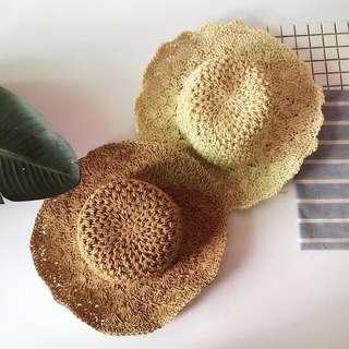 🌸鈎針花型草編太陽帽沙灘帽遮陽帽出遊可折疊好收納