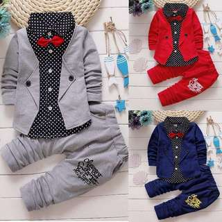 Free Postage Promotion: 8-20 Days Shipping Time Baby Boy Long Sleeve T-Shirt Tops + Long Pants