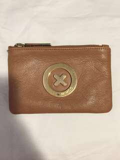 Mimco tan leather small pouch