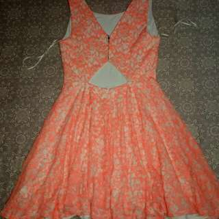 Neon Orange Lace Dress -By Guess