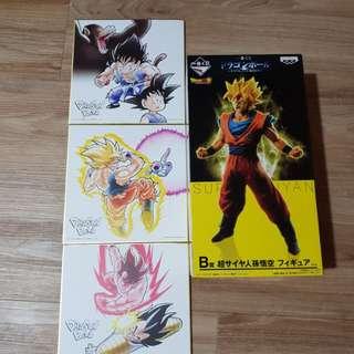 Dragonball- Saiyan Extreme Kuji , Prize B and 3 colored paper