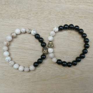 His and Hers Howlite and Onyx Bracelet with Buddha Accent