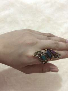 Colorful Resin Carved Hollow Knuckle Midi Ring - Size 9 Only