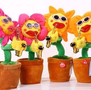 會唱歌跳舞的太陽花 搞笑玩具 薩克斯向日葵 吹喇叭的花 兒童玩具 六十首音樂玩具 薩克斯太陽花 妖嬌花 音樂花