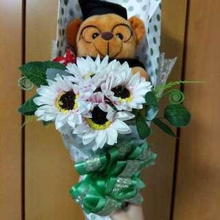 Graduation bear bouquet (green)