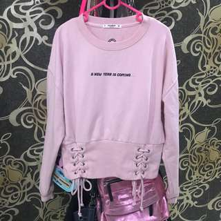 Pull And Bear Rope Sweater Pink