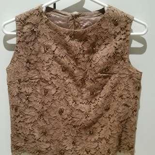 VINTAGE copper bronze LACE beaded detail TOP SINGLET blouse 8 10