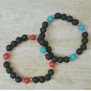 His and Hers Lava Stone Bracelet with Coral and Turquoise Accent