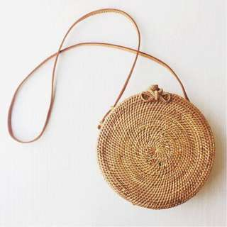 As New Used Once Handwoven Round Bag