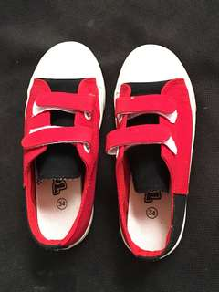 Red velcro shoes