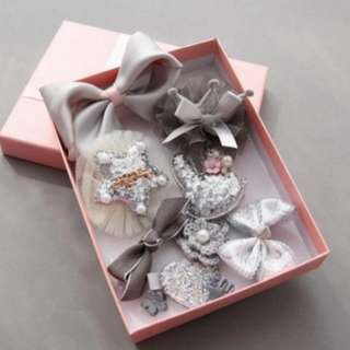 ~Ready stock~ BN 10Pcs Princess Girls' Assorted Hair Clips Accessories Set (Silver Gray)