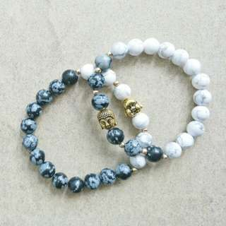 His and Hers Howlite and Snowflake Obsidian Bracelet with Buddha Accent