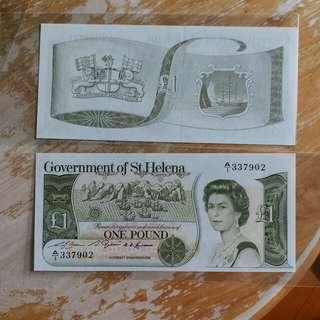 英属非洲聖赫勒拿全新UNC 1976年A 版1鎊
