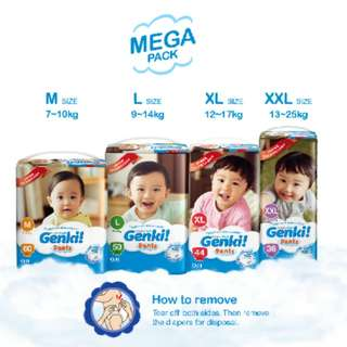 *Pre Order* Genki Diaper Pants Mega Pack | M60 / L50 / XL44 / XXL36
