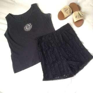 Coachella bundle 💖 TOP: Bangkok Sunflower tank, SIZE: Free size, can fit until semi medium, PRICE: 120 💖 BOTTOM: Bangkok high waist lace shorts, SIZE: Medium on tag, PRICE: 250 💖 OOTD BUNDLE PRICE: 300 ➖Bogus buyers WILL BE POSTED