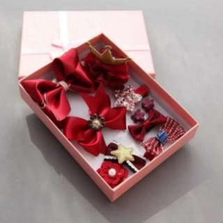 ~Ready stock~ BN 10Pcs Princess Girls' Assorted Hair Clips Accessories Set (Burgundy / Wine Red)
