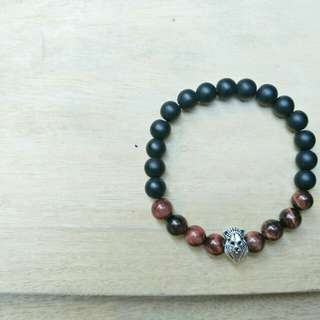 Gemstone Bracelet with Lion Accent