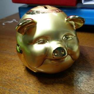 *REDUCED* Gold Plated Piggy Bank (Chinese Craft)