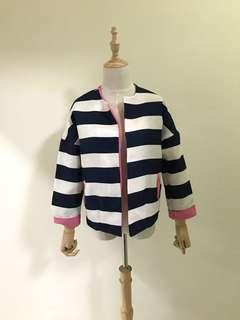 全新 藍白橫條紋外套 粉紅