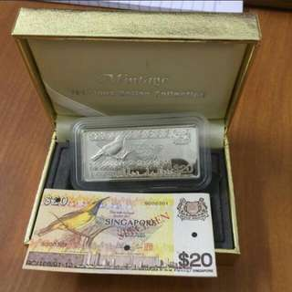Bird Series $20 Silver Ingot by The Singapore Mint. Limited Edition with COA