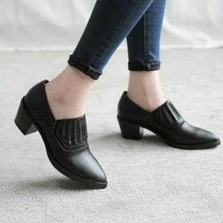 FM美鞋彈性粗跟踝靴