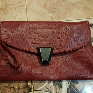 Preloved beautiful leather wristlet/sling bag