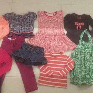 Girls bulk mixed clothes SIZE 3 4 pants dresses skirt tops pants
